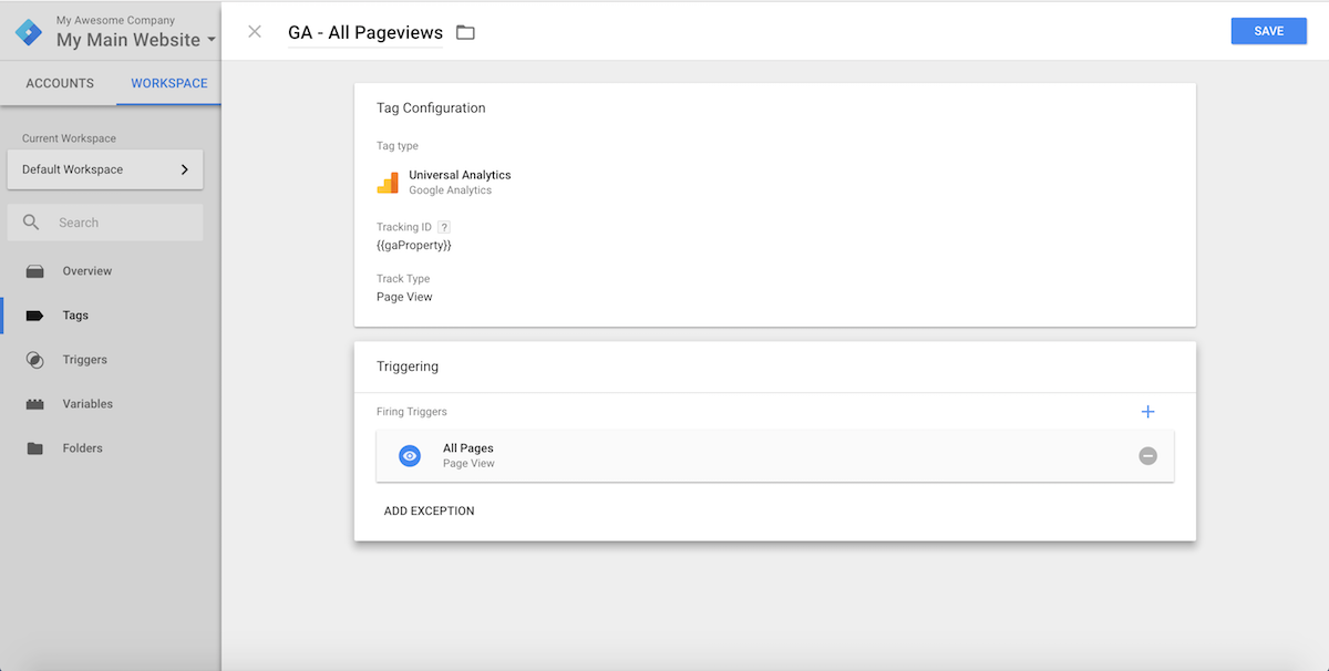 your first google tag manager tag